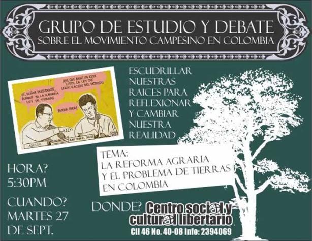 Volante Grupo de Estudio y Debate sobre el Movimiento Campesino en Colombia
