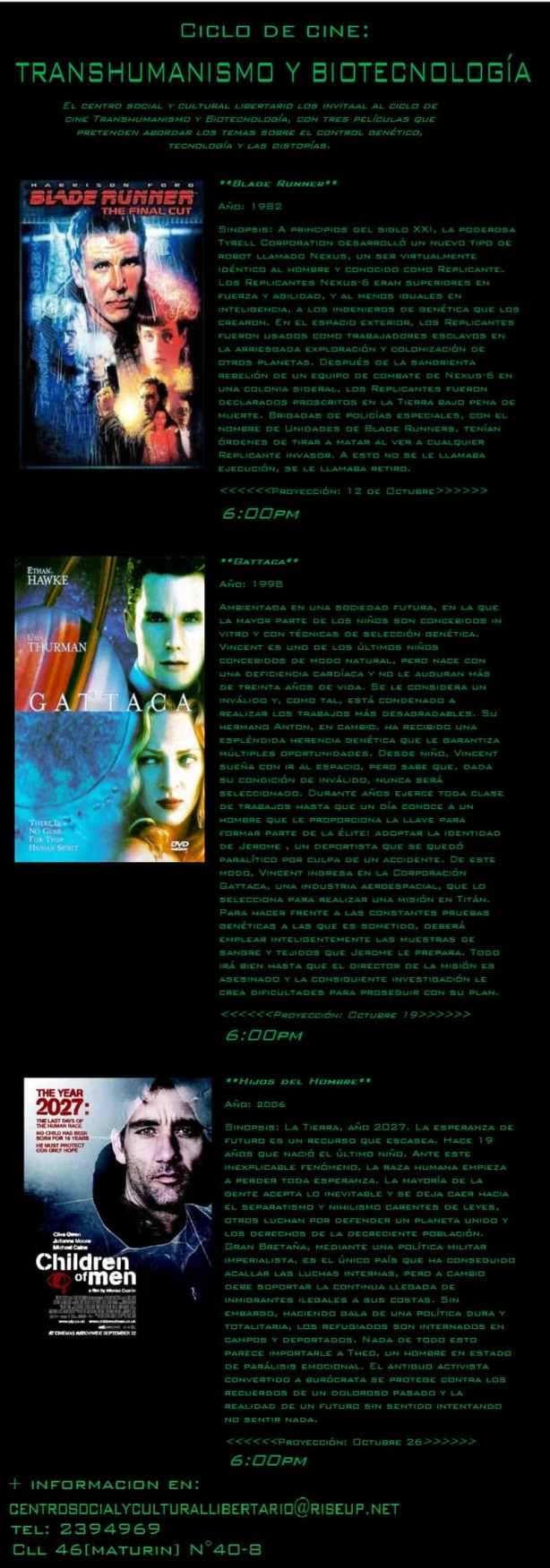 Volante del Ciclo de Cine: Transhumanismo y Biotecnología